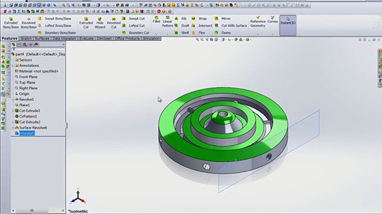 Flat Surface Screenshot Video Tutorial SolidWorks
